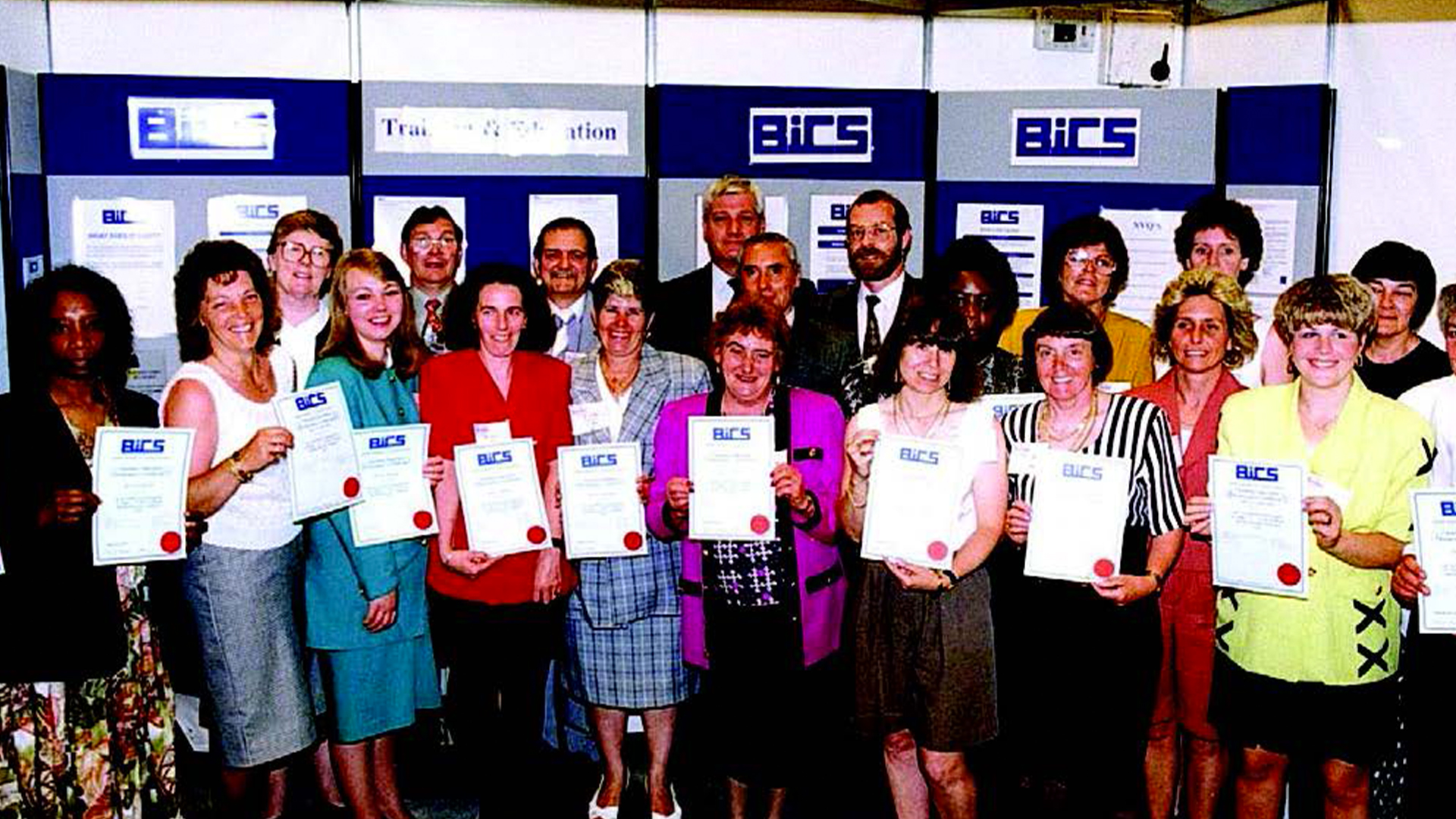 Birmingham City Council staff presented with their COPC Certificates by Institute Chairman, Peter Bird at the 1993 Cleaning Show